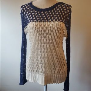 3/$20 Laugh Cry Repeat crochet blue white sweater